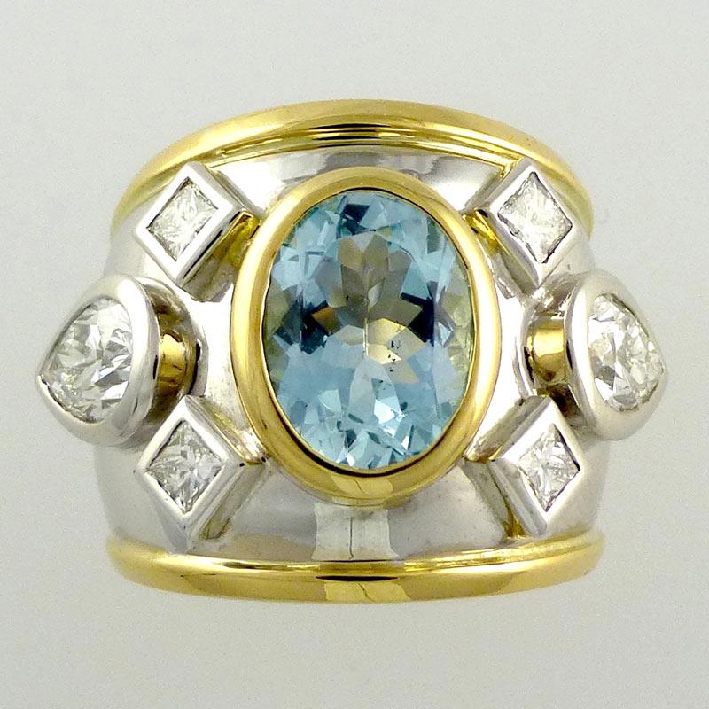 Aquamarine-diamond-Bombe-ri Bespoke Jewellery