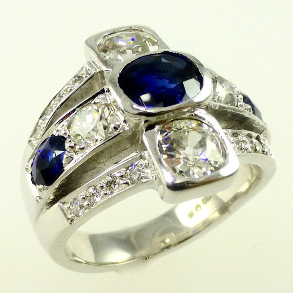 Bespoke Engagement Ring - diamond and sapphire on platinum