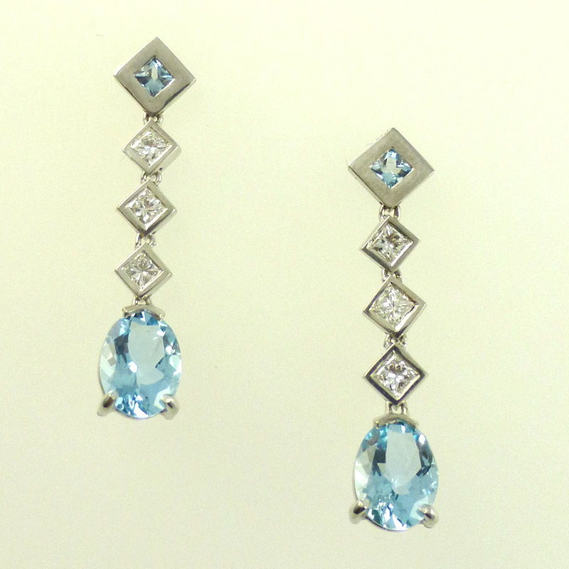 Aquamarine-diamond-drop-ear Earrings