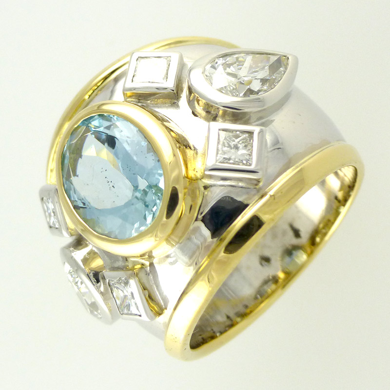Aquamarine-diamond-romanesq Dress Rings