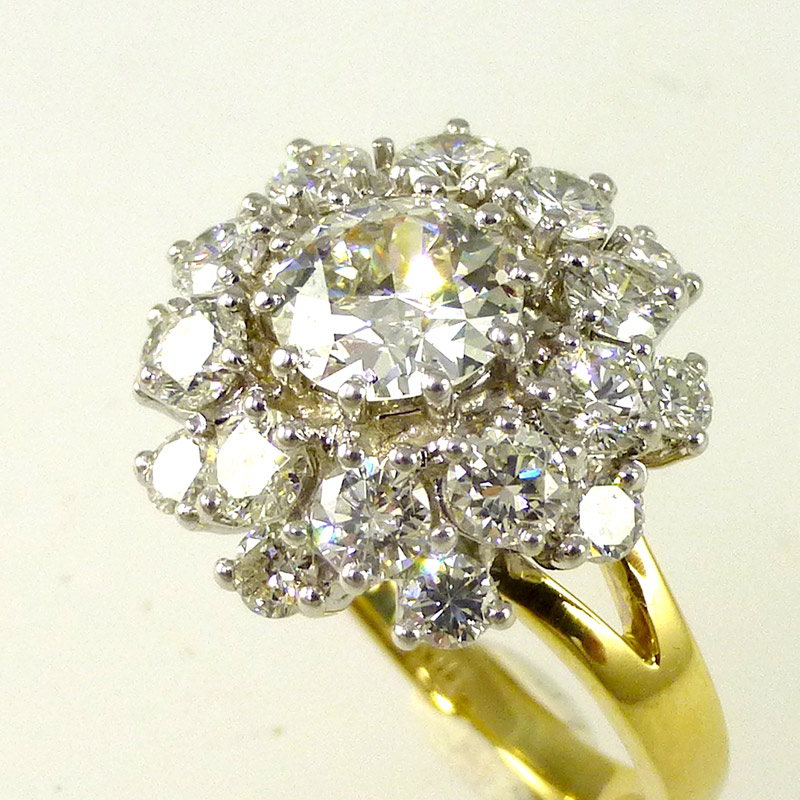 Classic-diamond-cluster-engagement-ring Dress Rings