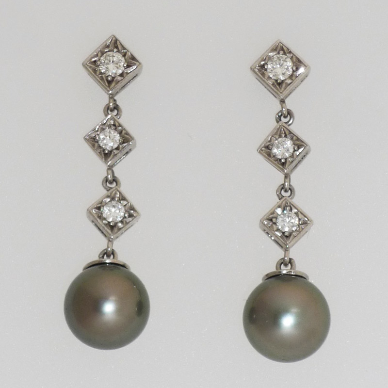 Diamond-drop-earrings-with-cultured-black-pearls Earrings