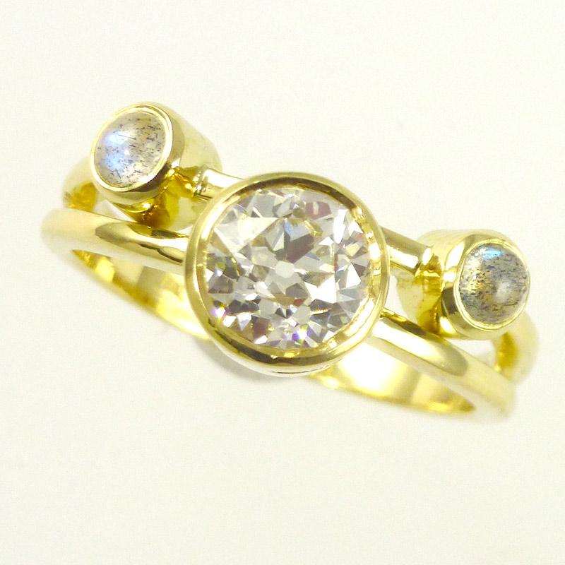 Diamond-labradorite-dress-ring Dress Rings