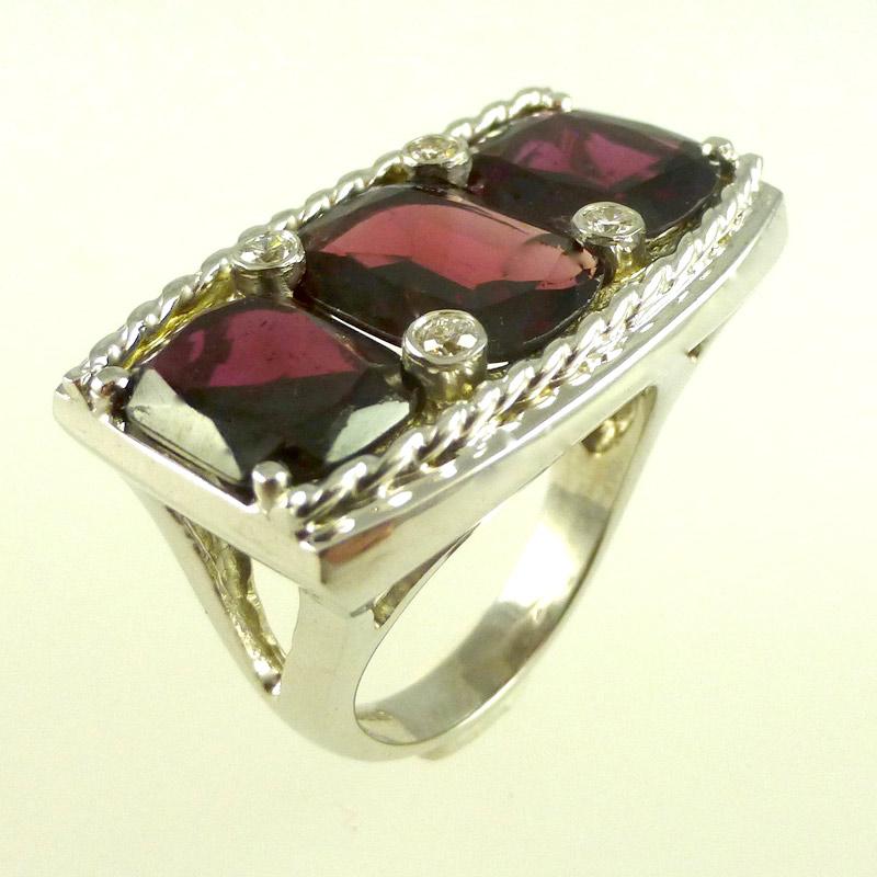 Garnet-diamond-dress-ring Dress Rings