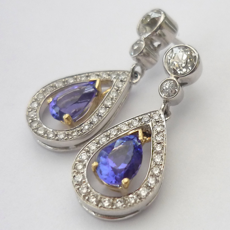 Tanzanite-and-diamond-drop-earrings Earrings