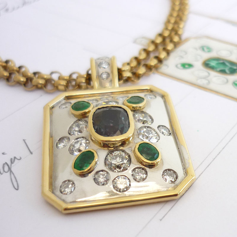 A-pendant-with-Alexanderite-emerald-and-diamonds Examples of re-design commissions