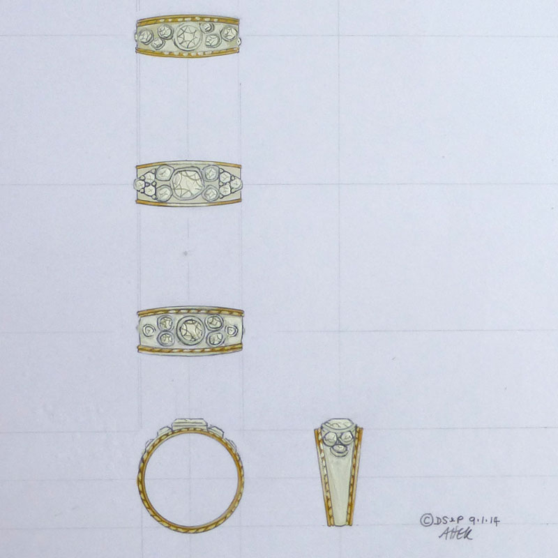 Case-Study-1Drawing-1 Three Gold Bombé Rings set with Diamonds