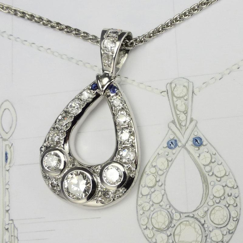 Diamond-hoop-pendant-set-in-platinum Examples of re-design commissions