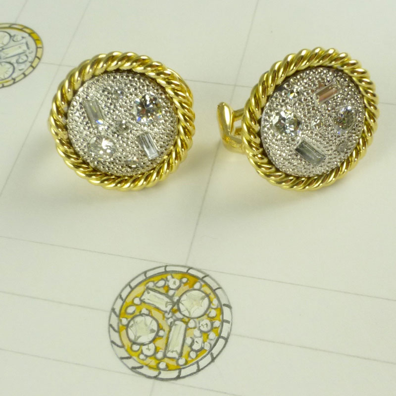 Irregular-diamonds-set-into-shield-earrings Examples of re-design commissions