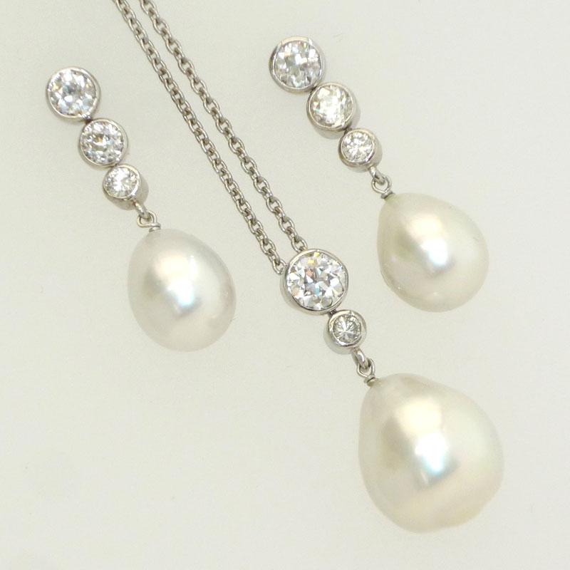 Kentish-Barnes.. South Sea Pearl and Diamond Earring & Pendant Suite