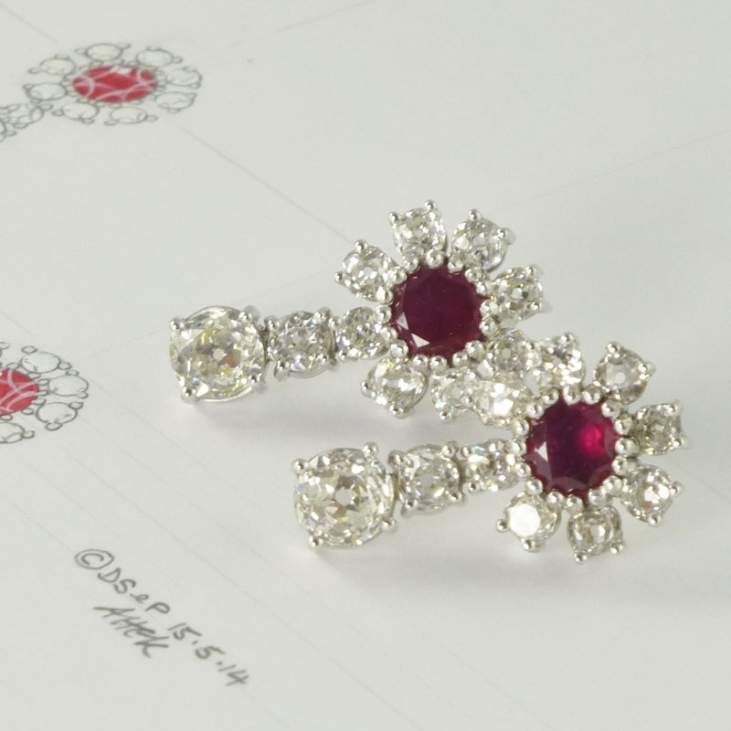 Ruby-diamond-cluster-drop-earrings Examples of re-design commissions
