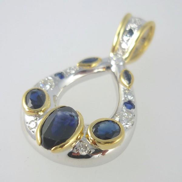Sapphire and diamond statement pendant