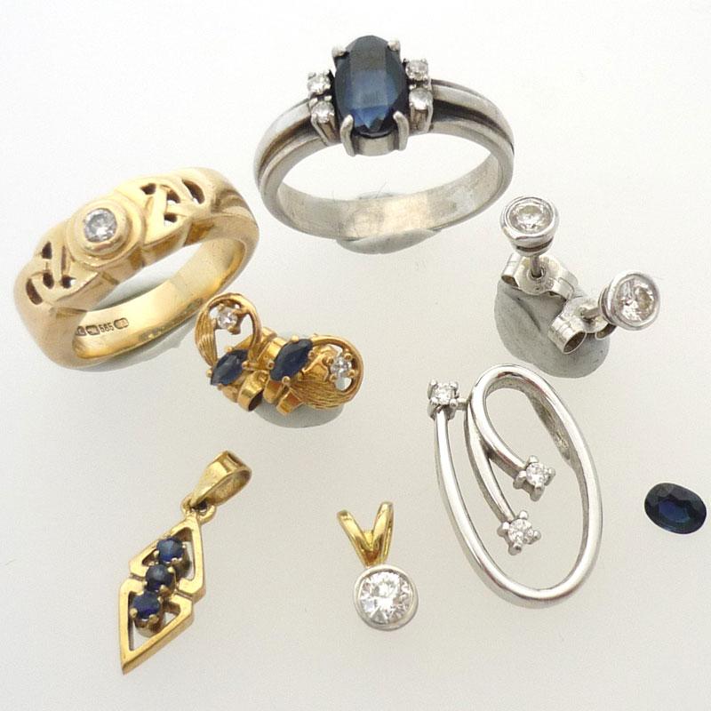 Selection-of-unworn-jewellery Gold Pendant set with Diamond and Sapphire