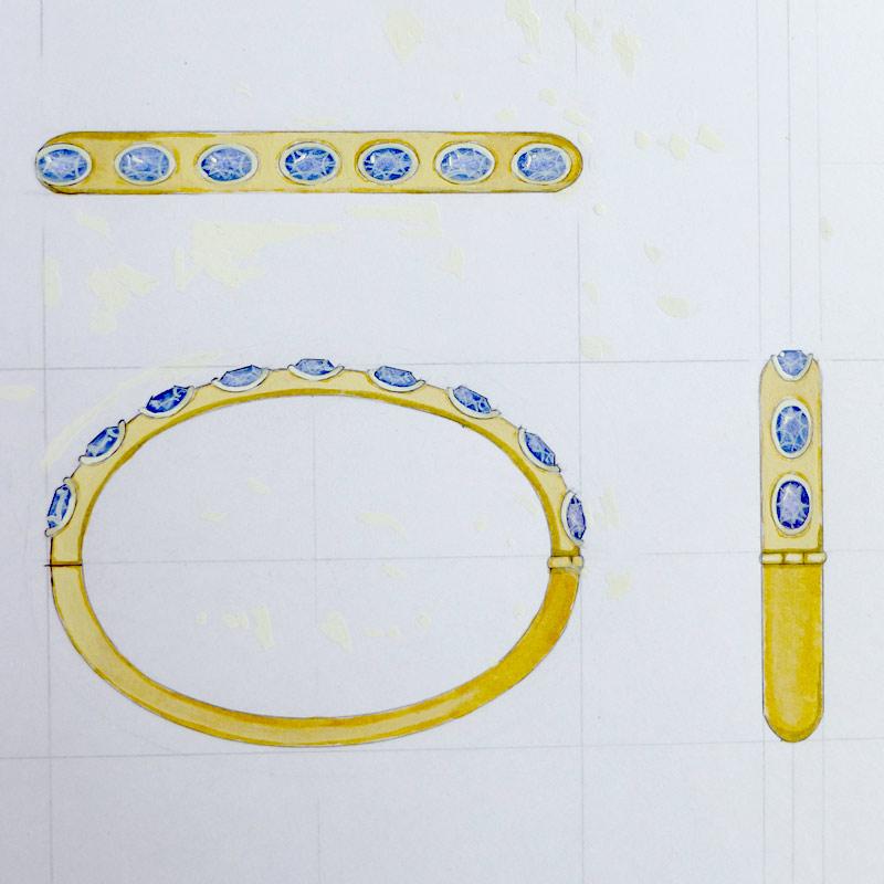 newbange 9 Carat Gold Bangle with Sri Lankan Sapphires