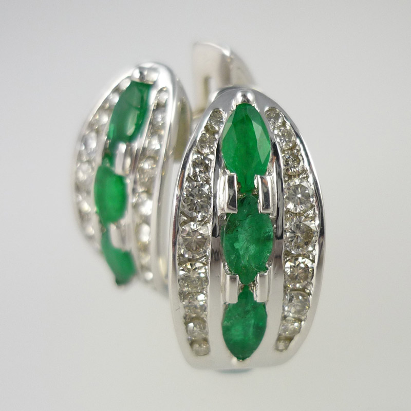 Marquise-emerald-and-diamond-hoop-earrings Earrings